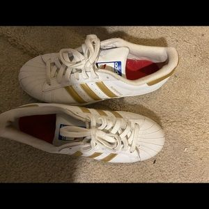 White & Gold shell toe Adidas